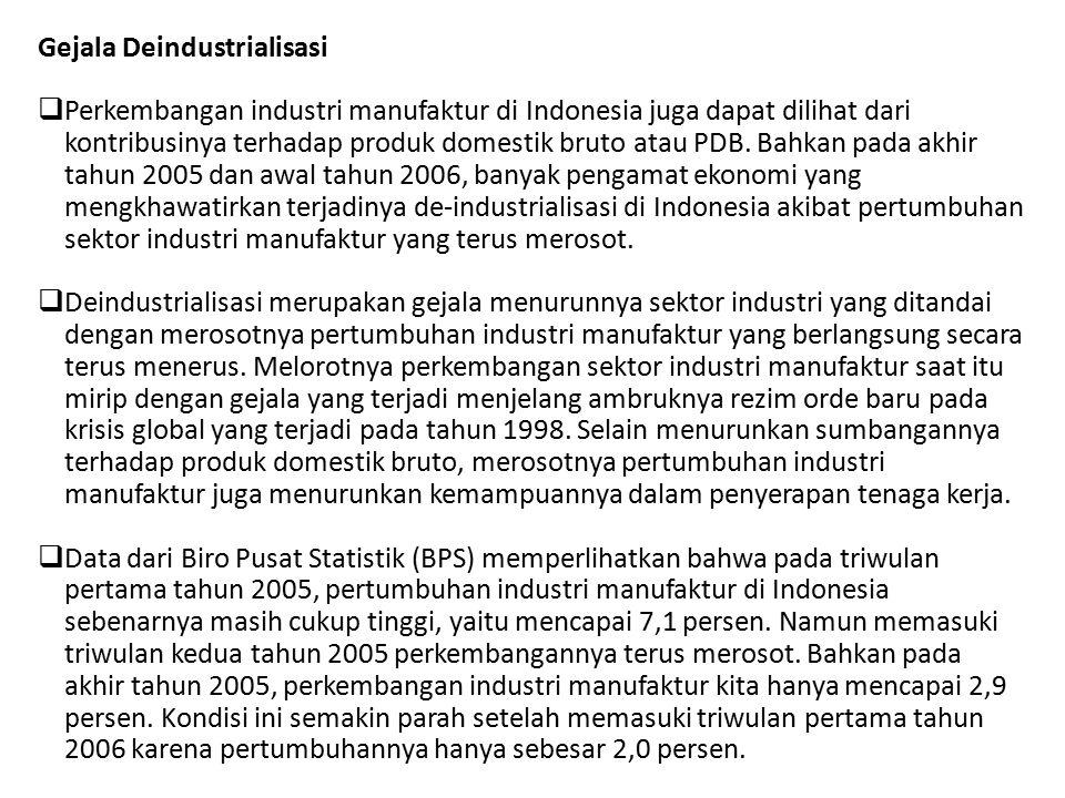 Gejala Deindustrialisasi  Perkembangan industri manufaktur di Indonesia juga dapat dilihat dari kontribusinya terhadap produk domestik bruto atau PDB