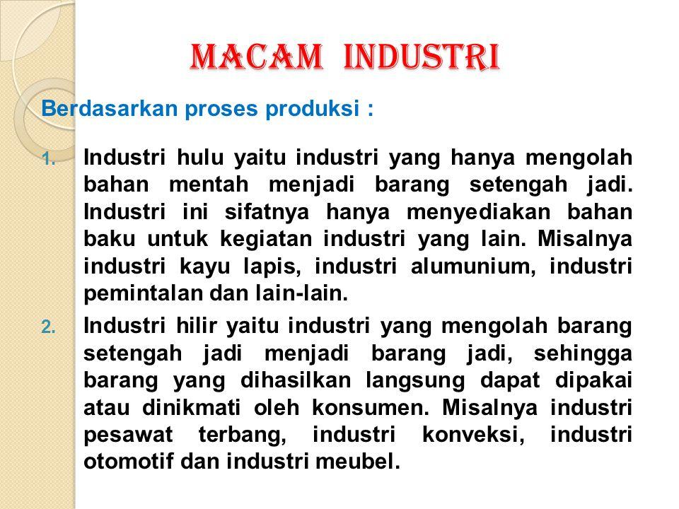 MACAM INDUSTRI Berdasarkan proses produksi : 1. Industri hulu yaitu industri yang hanya mengolah bahan mentah menjadi barang setengah jadi. Industri i
