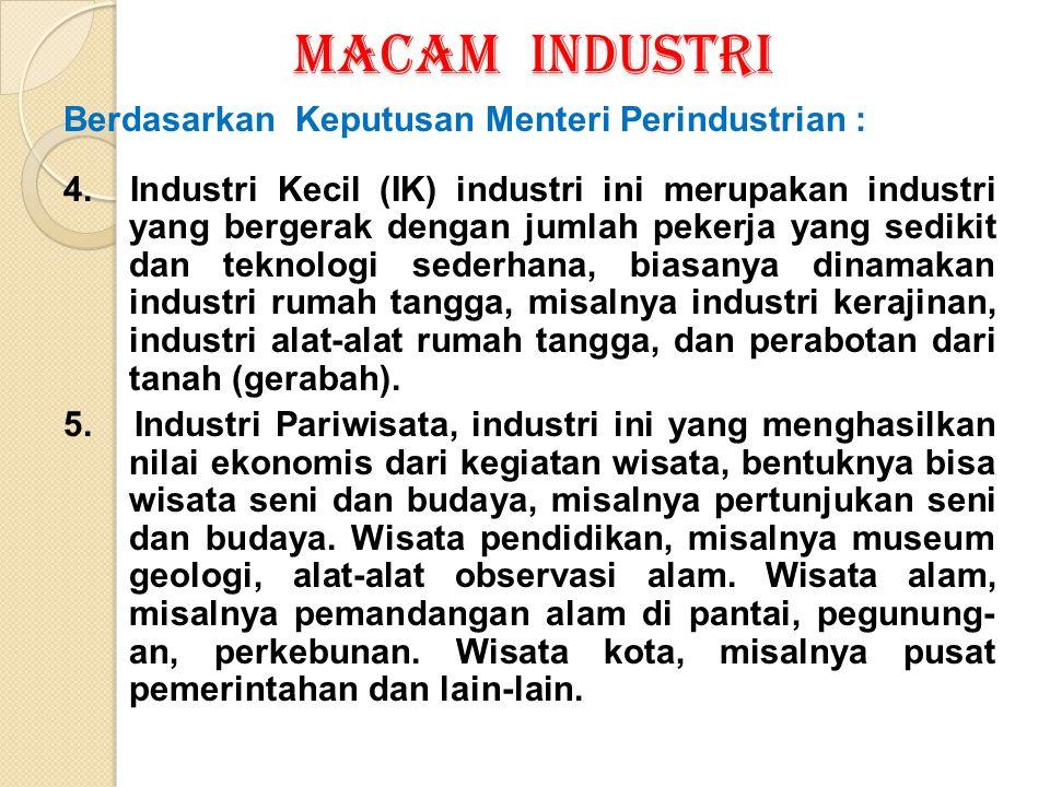 MACAM INDUSTRI Berdasarkan Keputusan Menteri Perindustrian : 4. Industri Kecil (IK) industri ini merupakan industri yang bergerak dengan jumlah pekerj