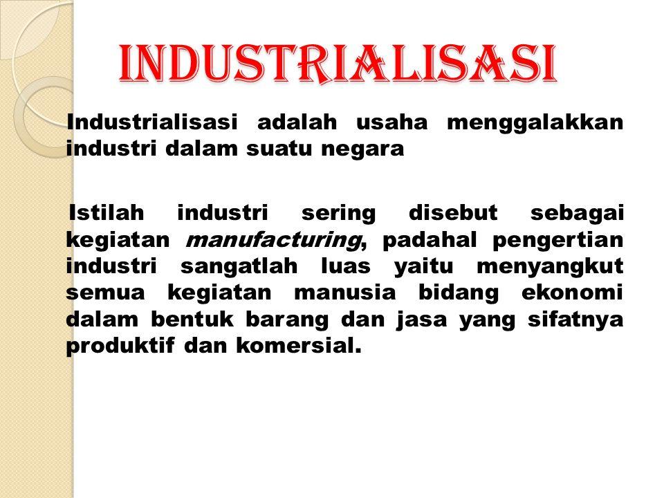 INDUSTRIALISASI Industrialisasi adalah usaha menggalakkan industri dalam suatu negara Istilah industri sering disebut sebagai kegiatan manufacturing,