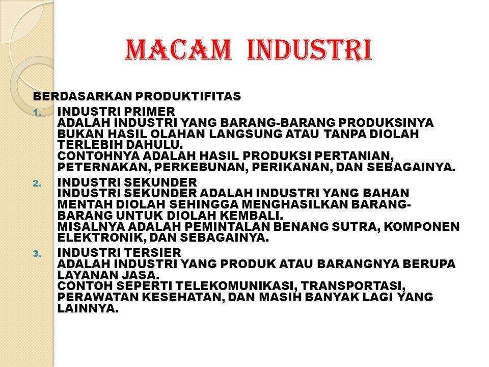 MACAM INDUSTRI Berdasarkan tenaga kerja : 1.