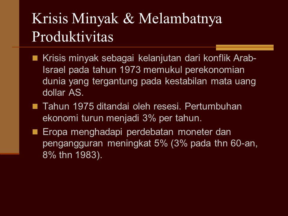 Krisis Minyak & Melambatnya Produktivitas Krisis minyak sebagai kelanjutan dari konflik Arab- Israel pada tahun 1973 memukul perekonomian dunia yang tergantung pada kestabilan mata uang dollar AS.