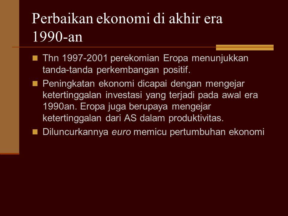 Perbaikan ekonomi di akhir era 1990-an Thn 1997-2001 perekomian Eropa menunjukkan tanda-tanda perkembangan positif.