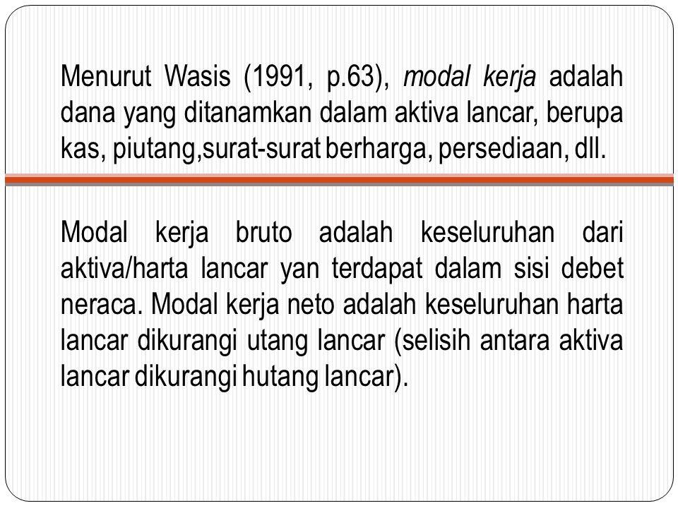 Menurut Wasis (1991, p.63), modal kerja adalah dana yang ditanamkan dalam aktiva lancar, berupa kas, piutang,surat-surat berharga, persediaan, dll. Mo