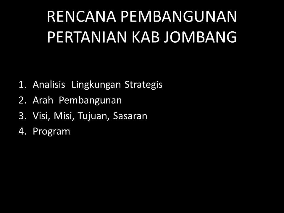RENCANA PEMBANGUNAN PERTANIAN KAB JOMBANG 1.Analisis Lingkungan Strategis 2.Arah Pembangunan 3.Visi, Misi, Tujuan, Sasaran 4.Program