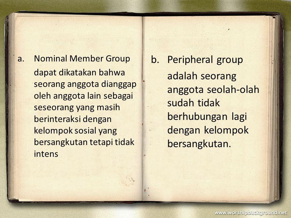 2.REFERENCE GROUP merupakan kelompok sosial yang menjadi acuan seseorang (bukan anggota kelompok) untuk membentuk kepribadian dan perilakunya.