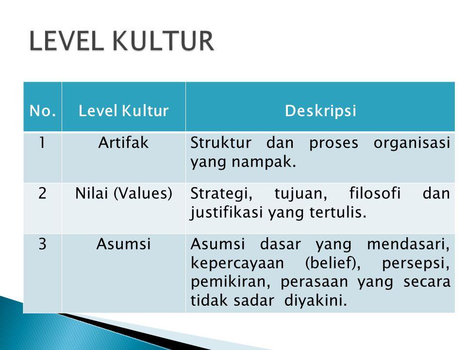No.Level KulturDeskripsi 1ArtifakStruktur dan proses organisasi yang nampak. 2Nilai (Values)Strategi, tujuan, filosofi dan justifikasi yang tertulis.