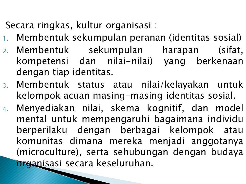 Secara ringkas, kultur organisasi : 1.Membentuk sekumpulan peranan (identitas sosial) 2.