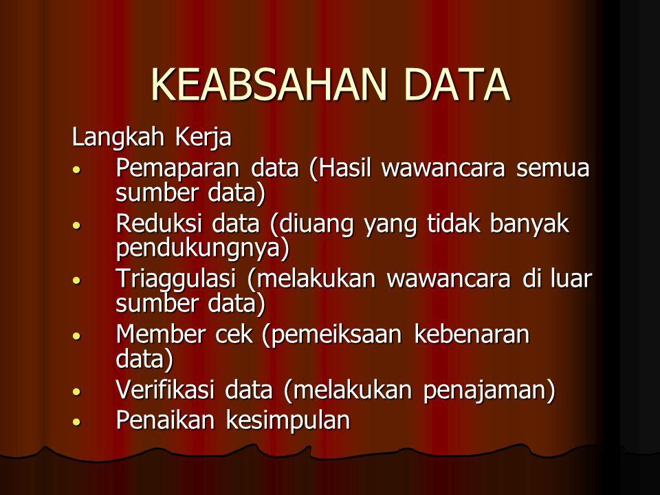 KEABSAHAN DATA Langkah Kerja Pemaparan data (Hasil wawancara semua sumber data) Pemaparan data (Hasil wawancara semua sumber data) Reduksi data (diuan