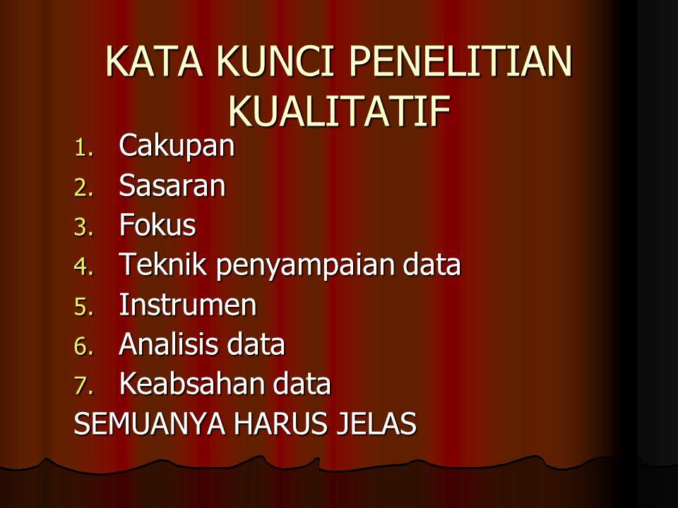KATA KUNCI PENELITIAN KUALITATIF 1. Cakupan 2. Sasaran 3. Fokus 4. Teknik penyampaian data 5. Instrumen 6. Analisis data 7. Keabsahan data SEMUANYA HA