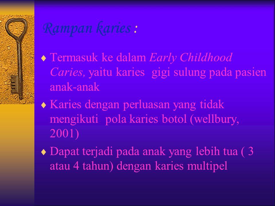 RAMPAN KARIES etiologi, perawatan, pencegahan Oleh; Williyanti Soewondo.,drg.,SpPed