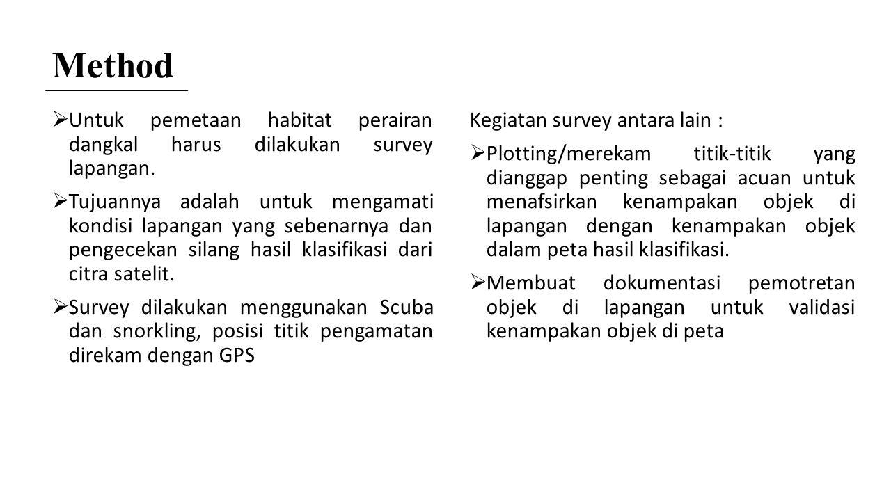 Method  Untuk pemetaan habitat perairan dangkal harus dilakukan survey lapangan.  Tujuannya adalah untuk mengamati kondisi lapangan yang sebenarnya