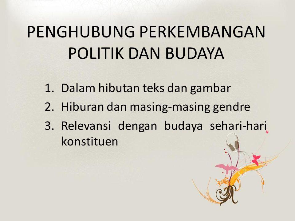 PENGHUBUNG PERKEMBANGAN POLITIK DAN BUDAYA 1.Dalam hibutan teks dan gambar 2.Hiburan dan masing-masing gendre 3.Relevansi dengan budaya sehari-hari konstituen