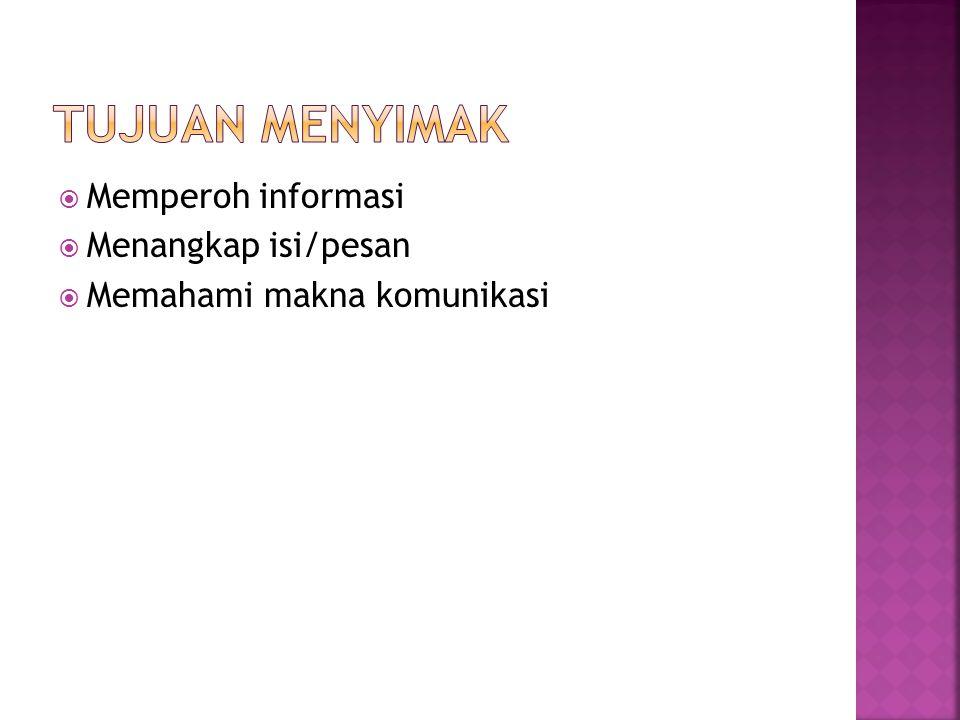  Memperoh informasi  Menangkap isi/pesan  Memahami makna komunikasi