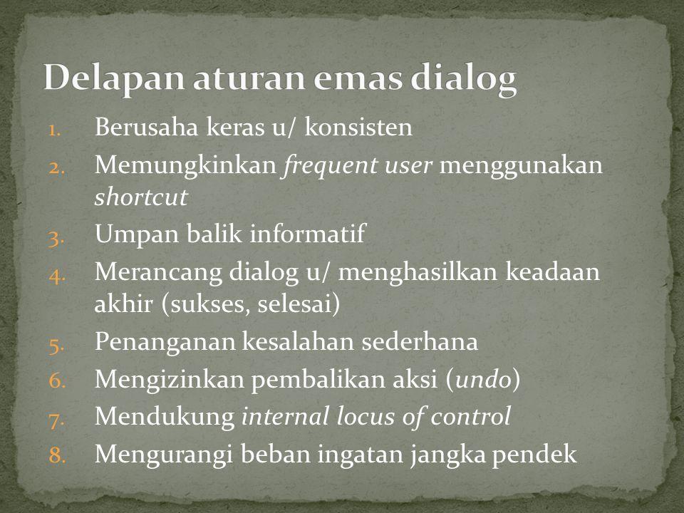1. Berusaha keras u/ konsisten 2. Memungkinkan frequent user menggunakan shortcut 3. Umpan balik informatif 4. Merancang dialog u/ menghasilkan keadaa