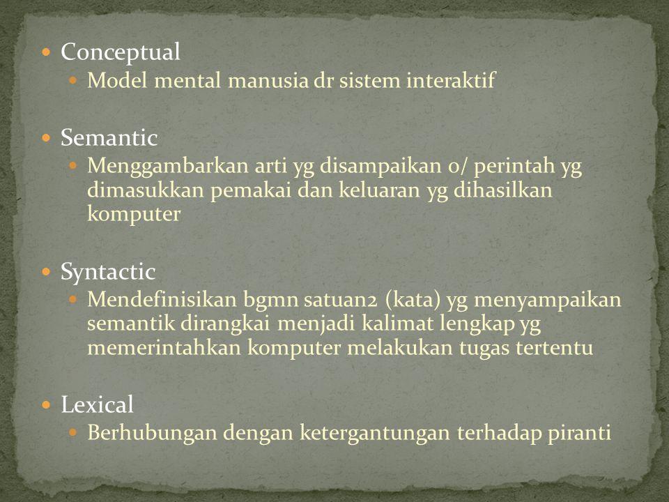 Conceptual Model mental manusia dr sistem interaktif Semantic Menggambarkan arti yg disampaikan o/ perintah yg dimasukkan pemakai dan keluaran yg diha