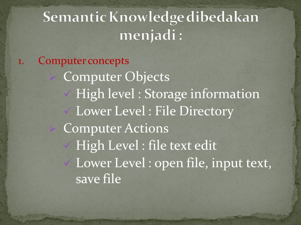 1.Computer concepts  Computer Objects High level : Storage information Lower Level : File Directory  Computer Actions High Level : file text edit Lo