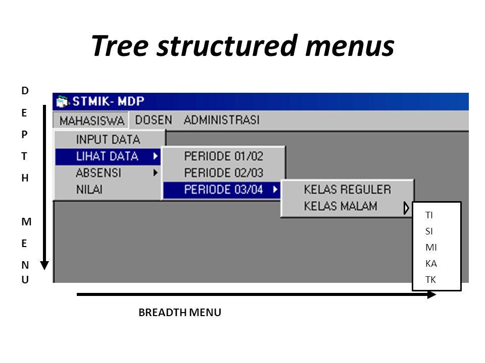 Tree structured menus BREADTH MENU DEPTHMENUDEPTHMENU TI SI MI KA TK