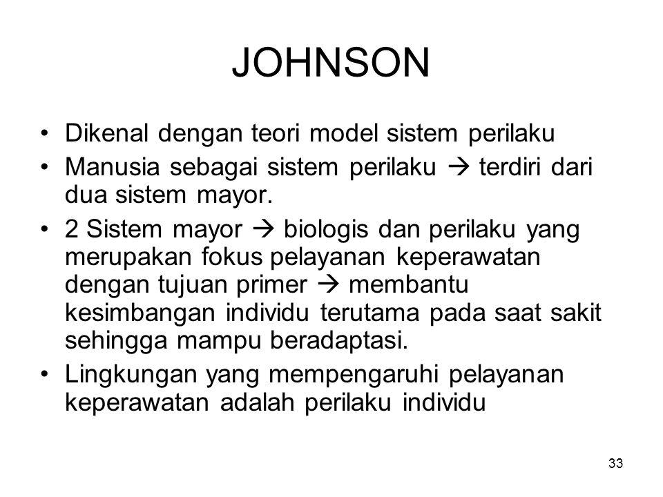 33 JOHNSON Dikenal dengan teori model sistem perilaku Manusia sebagai sistem perilaku  terdiri dari dua sistem mayor. 2 Sistem mayor  biologis dan p