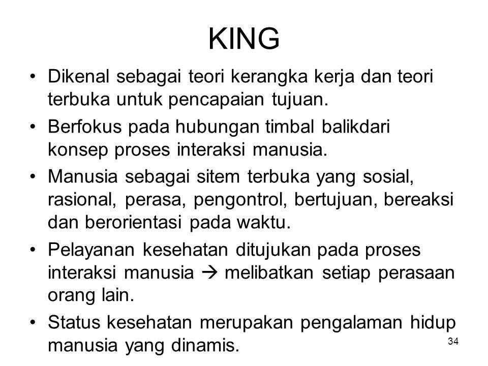 34 KING Dikenal sebagai teori kerangka kerja dan teori terbuka untuk pencapaian tujuan. Berfokus pada hubungan timbal balikdari konsep proses interaks