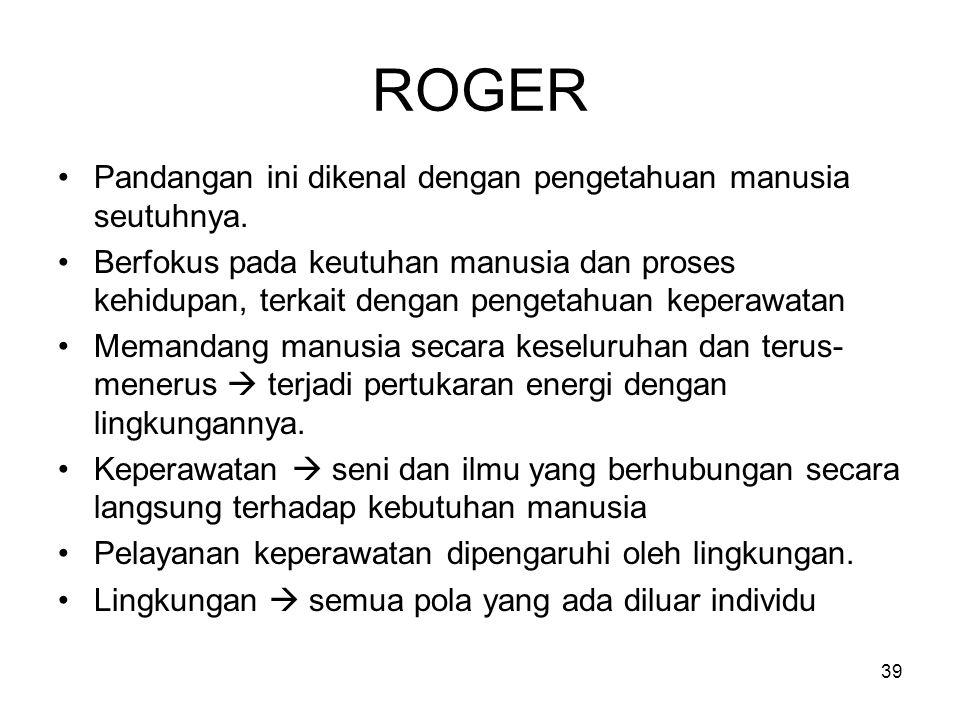 39 ROGER Pandangan ini dikenal dengan pengetahuan manusia seutuhnya. Berfokus pada keutuhan manusia dan proses kehidupan, terkait dengan pengetahuan k