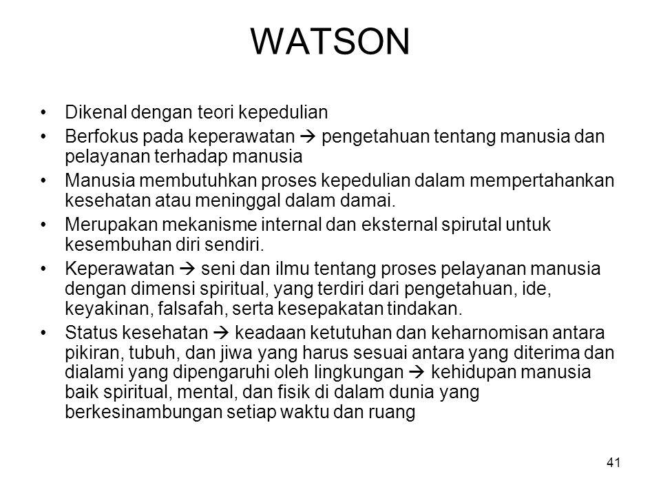 41 WATSON Dikenal dengan teori kepedulian Berfokus pada keperawatan  pengetahuan tentang manusia dan pelayanan terhadap manusia Manusia membutuhkan p