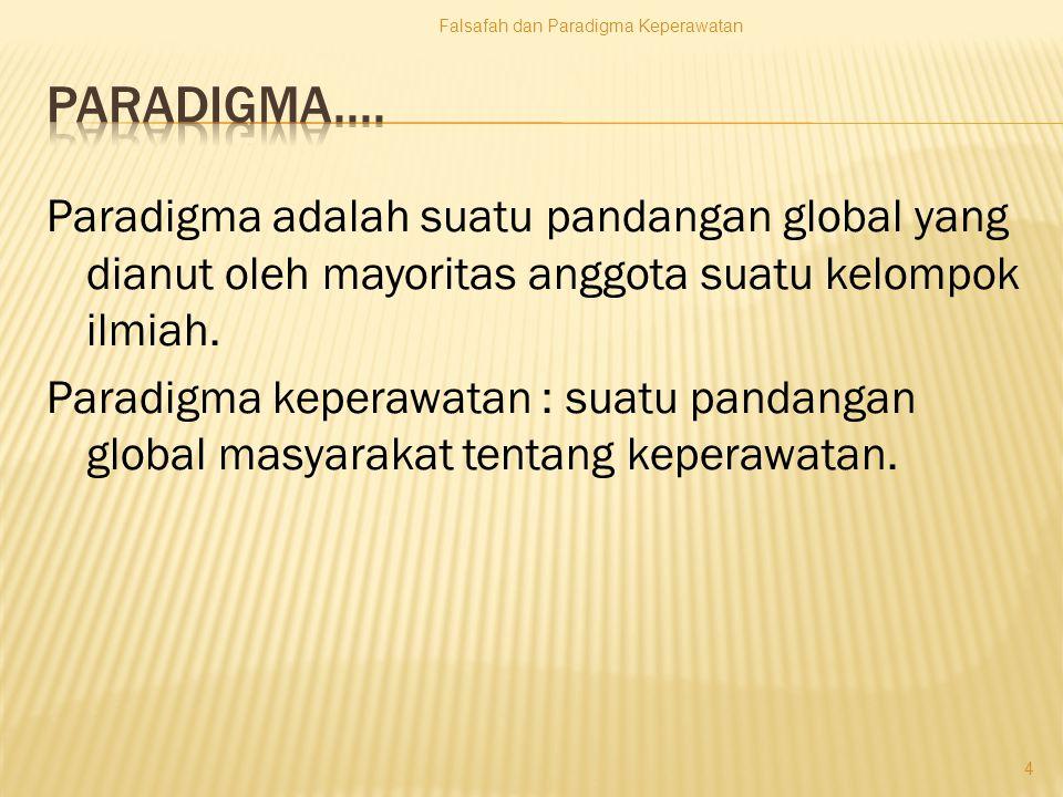 Paradigma adalah suatu pandangan global yang dianut oleh mayoritas anggota suatu kelompok ilmiah.