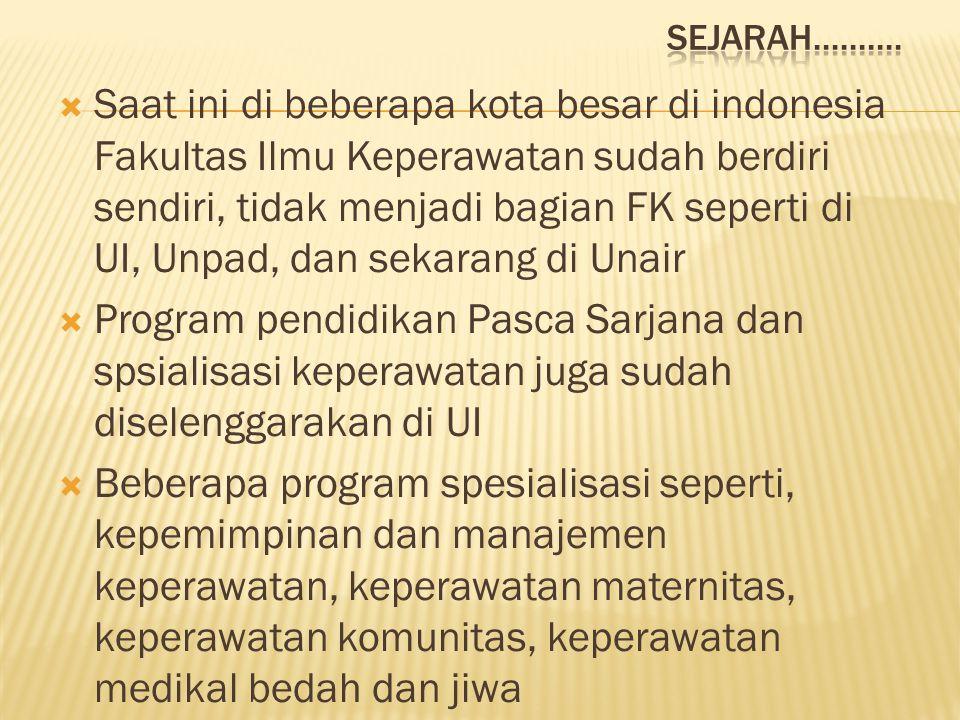  Saat ini di beberapa kota besar di indonesia Fakultas Ilmu Keperawatan sudah berdiri sendiri, tidak menjadi bagian FK seperti di UI, Unpad, dan seka
