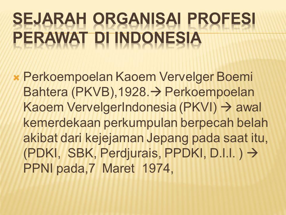  Perkoempoelan Kaoem Vervelger Boemi Bahtera (PKVB),1928.  Perkoempoelan Kaoem VervelgerIndonesia (PKVI)  awal kemerdekaan perkumpulan berpecah bel