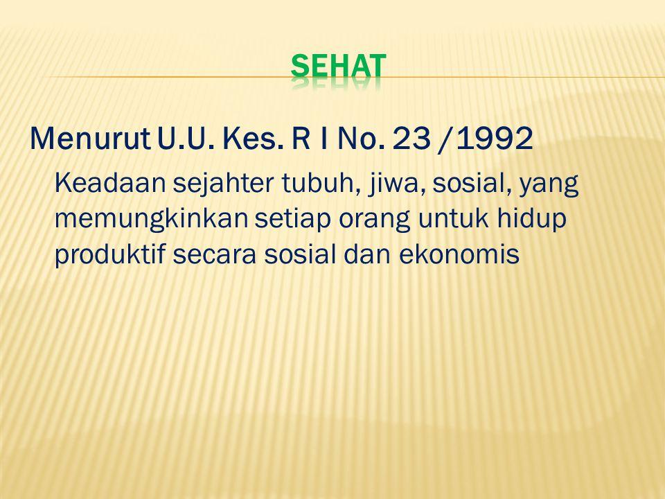 Menurut U.U. Kes. R I No. 23 /1992 Keadaan sejahter tubuh, jiwa, sosial, yang memungkinkan setiap orang untuk hidup produktif secara sosial dan ekonom
