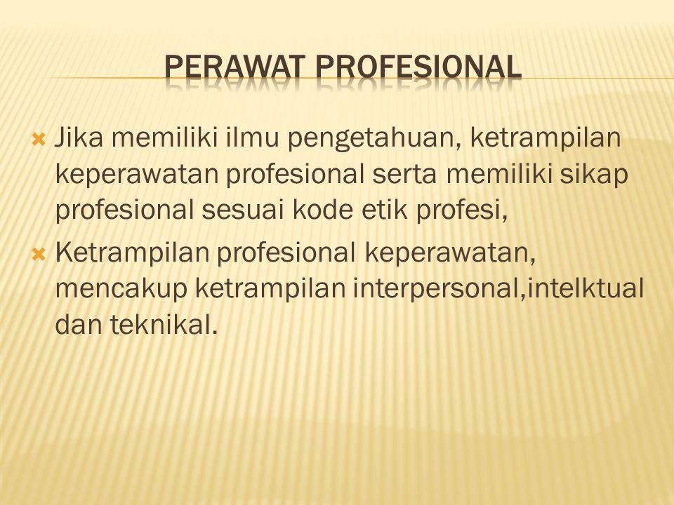  Jika memiliki ilmu pengetahuan, ketrampilan keperawatan profesional serta memiliki sikap profesional sesuai kode etik profesi,  Ketrampilan profesi