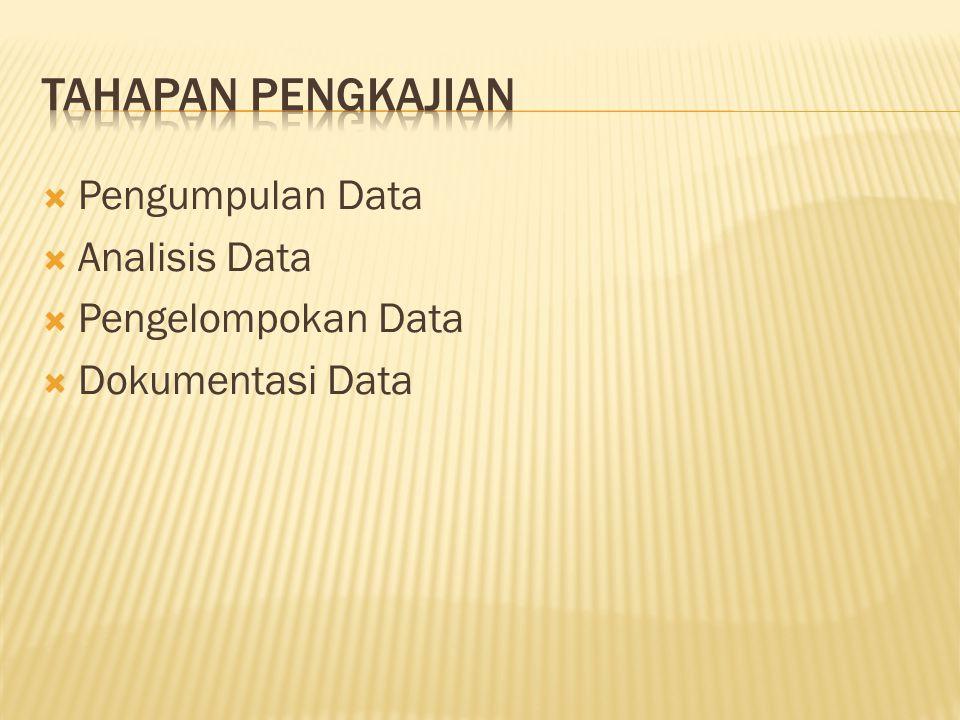  Pengumpulan Data  Analisis Data  Pengelompokan Data  Dokumentasi Data