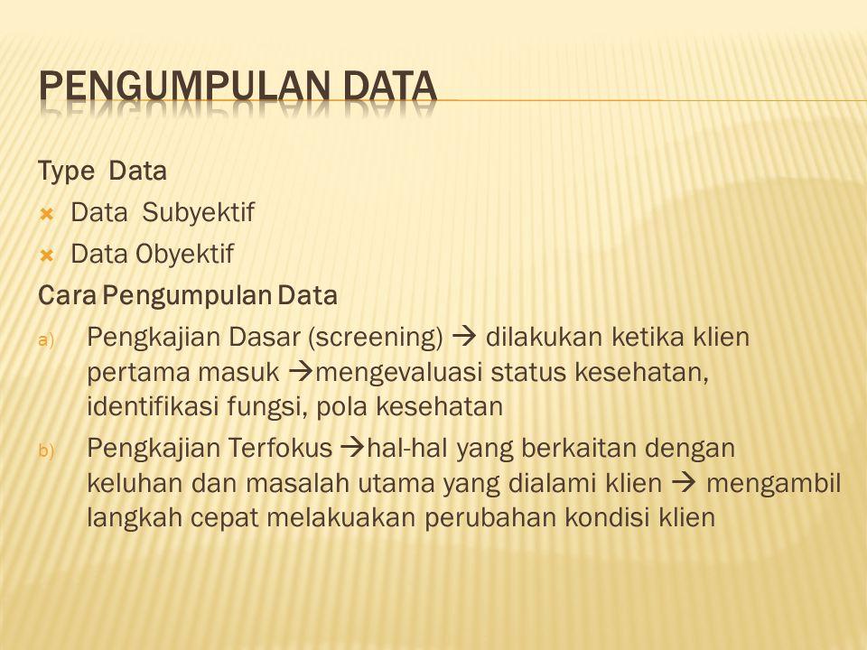 Type Data  Data Subyektif  Data Obyektif Cara Pengumpulan Data a) Pengkajian Dasar (screening)  dilakukan ketika klien pertama masuk  mengevaluasi