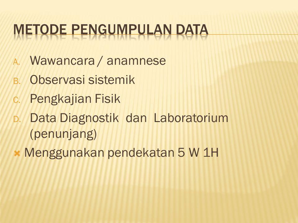 A. Wawancara / anamnese B. Observasi sistemik C. Pengkajian Fisik D. Data Diagnostik dan Laboratorium (penunjang)  Menggunakan pendekatan 5 W 1H