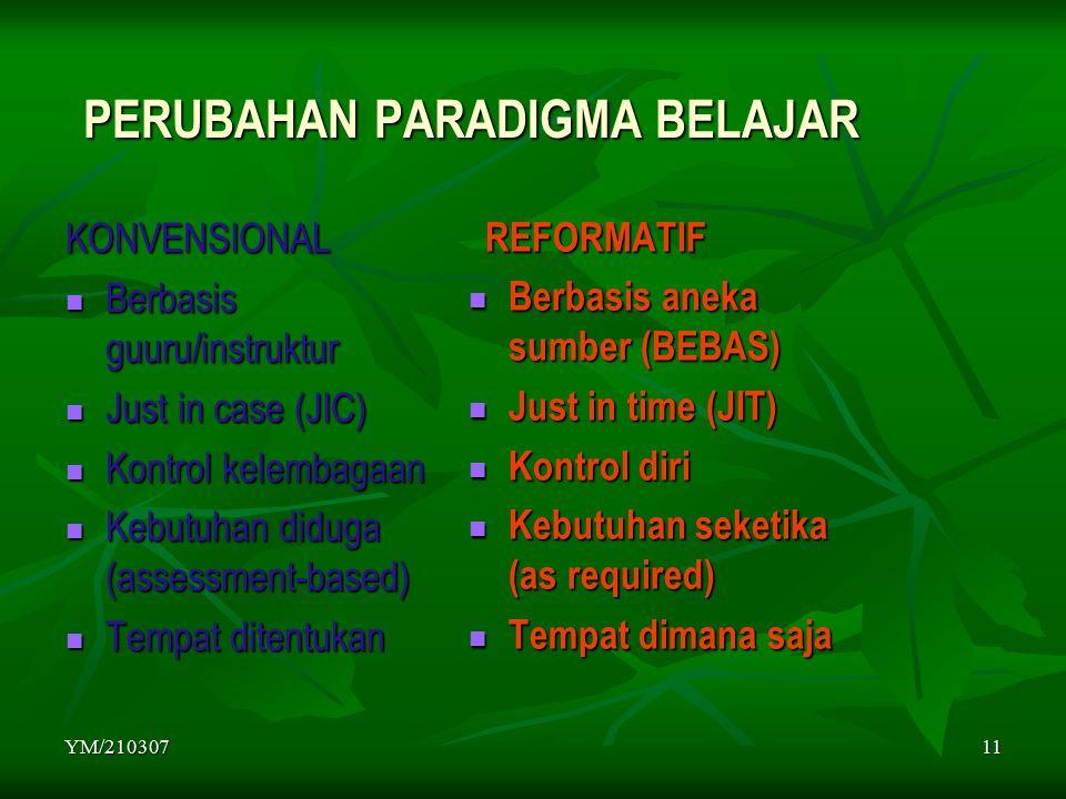 YM/21030711 PERUBAHAN PARADIGMA BELAJAR KONVENSIONAL Berbasis guuru/instruktur Berbasis guuru/instruktur Just in case (JIC) Just in case (JIC) Kontrol