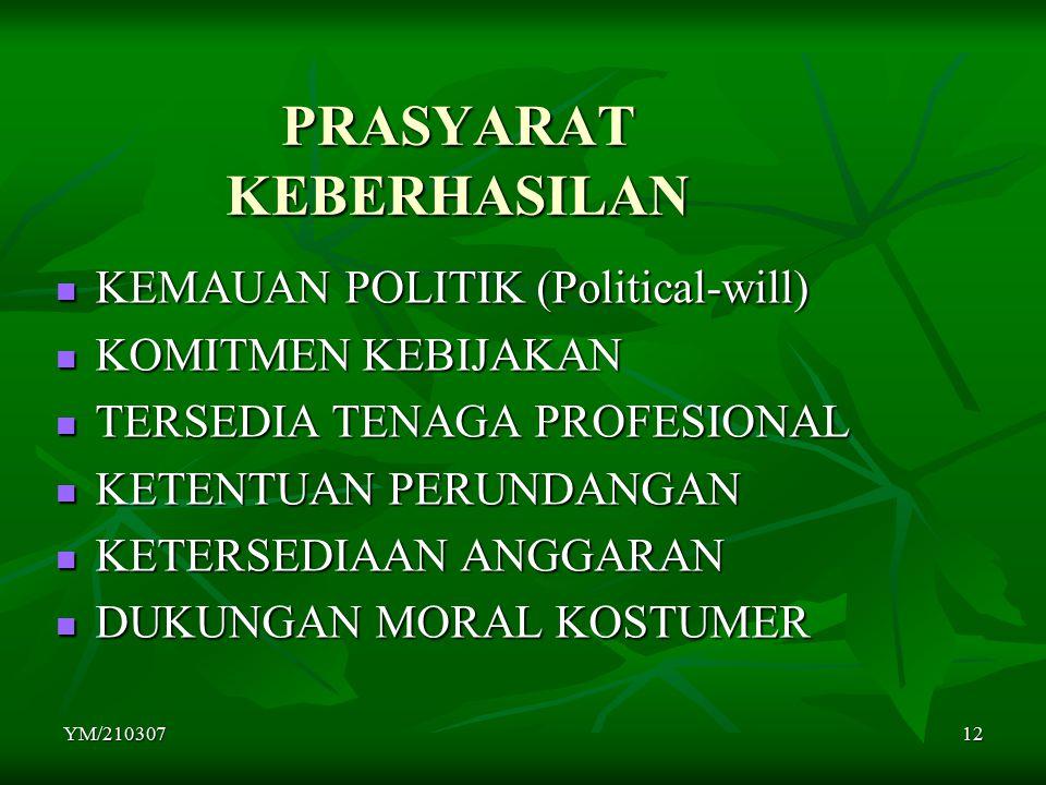 YM/21030712 PRASYARAT KEBERHASILAN KEMAUAN POLITIK (Political-will) KEMAUAN POLITIK (Political-will) KOMITMEN KEBIJAKAN KOMITMEN KEBIJAKAN TERSEDIA TENAGA PROFESIONAL TERSEDIA TENAGA PROFESIONAL KETENTUAN PERUNDANGAN KETENTUAN PERUNDANGAN KETERSEDIAAN ANGGARAN KETERSEDIAAN ANGGARAN DUKUNGAN MORAL KOSTUMER DUKUNGAN MORAL KOSTUMER