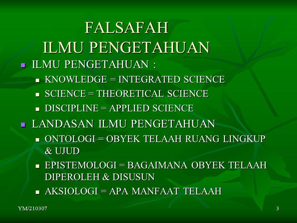 YM/2103073 FALSAFAH ILMU PENGETAHUAN ILMU PENGETAHUAN : ILMU PENGETAHUAN : KNOWLEDGE = INTEGRATED SCIENCE KNOWLEDGE = INTEGRATED SCIENCE SCIENCE = THEORETICAL SCIENCE SCIENCE = THEORETICAL SCIENCE DISCIPLINE = APPLIED SCIENCE DISCIPLINE = APPLIED SCIENCE LANDASAN ILMU PENGETAHUAN LANDASAN ILMU PENGETAHUAN ONTOLOGI = OBYEK TELAAH RUANG LINGKUP & UJUD ONTOLOGI = OBYEK TELAAH RUANG LINGKUP & UJUD EPISTEMOLOGI = BAGAIMANA OBYEK TELAAH DIPEROLEH & DISUSUN EPISTEMOLOGI = BAGAIMANA OBYEK TELAAH DIPEROLEH & DISUSUN AKSIOLOGI = APA MANFAAT TELAAH AKSIOLOGI = APA MANFAAT TELAAH