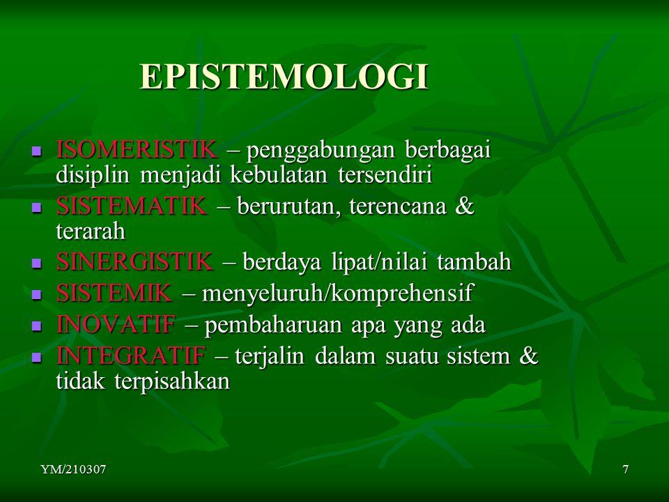 YM/2103077 EPISTEMOLOGI ISOMERISTIK – penggabungan berbagai disiplin menjadi kebulatan tersendiri ISOMERISTIK – penggabungan berbagai disiplin menjadi
