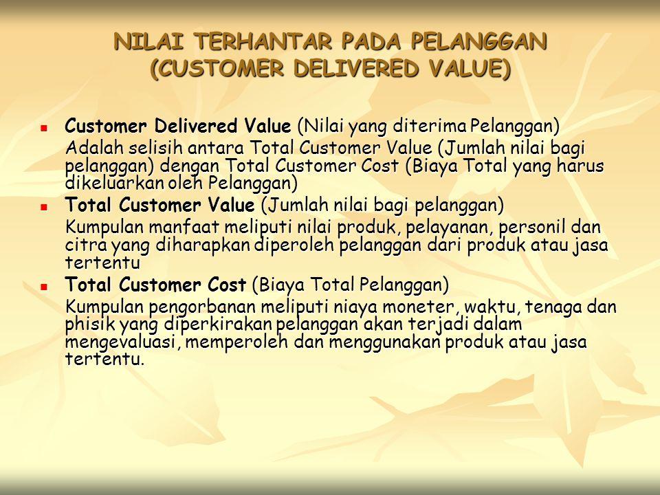 NILAI TERHANTAR PADA PELANGGAN (CUSTOMER DELIVERED VALUE) Customer Delivered Value (Nilai yang diterima Pelanggan) Customer Delivered Value (Nilai yang diterima Pelanggan) Adalah selisih antara Total Customer Value (Jumlah nilai bagi pelanggan) dengan Total Customer Cost (Biaya Total yang harus dikeluarkan oleh Pelanggan) Total Customer Value (Jumlah nilai bagi pelanggan) Total Customer Value (Jumlah nilai bagi pelanggan) Kumpulan manfaat meliputi nilai produk, pelayanan, personil dan citra yang diharapkan diperoleh pelanggan dari produk atau jasa tertentu Total Customer Cost (Biaya Total Pelanggan) Total Customer Cost (Biaya Total Pelanggan) Kumpulan pengorbanan meliputi niaya moneter, waktu, tenaga dan phisik yang diperkirakan pelanggan akan terjadi dalam mengevaluasi, memperoleh dan menggunakan produk atau jasa tertentu.