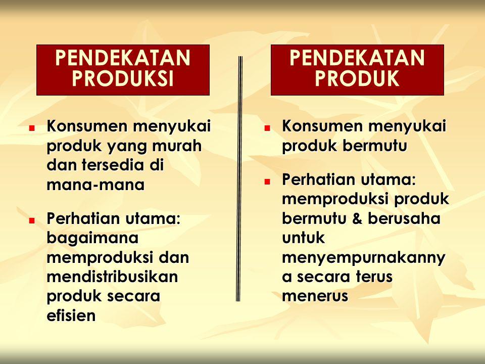 Konsumen menyukai produk yang murah dan tersedia di mana-mana Konsumen menyukai produk yang murah dan tersedia di mana-mana Perhatian utama: bagaimana memproduksi dan mendistribusikan produk secara efisien Perhatian utama: bagaimana memproduksi dan mendistribusikan produk secara efisien PENDEKATAN PRODUKSI PENDEKATAN PRODUK Konsumen menyukai produk bermutu Konsumen menyukai produk bermutu Perhatian utama: memproduksi produk bermutu & berusaha untuk menyempurnakanny a secara terus menerus Perhatian utama: memproduksi produk bermutu & berusaha untuk menyempurnakanny a secara terus menerus