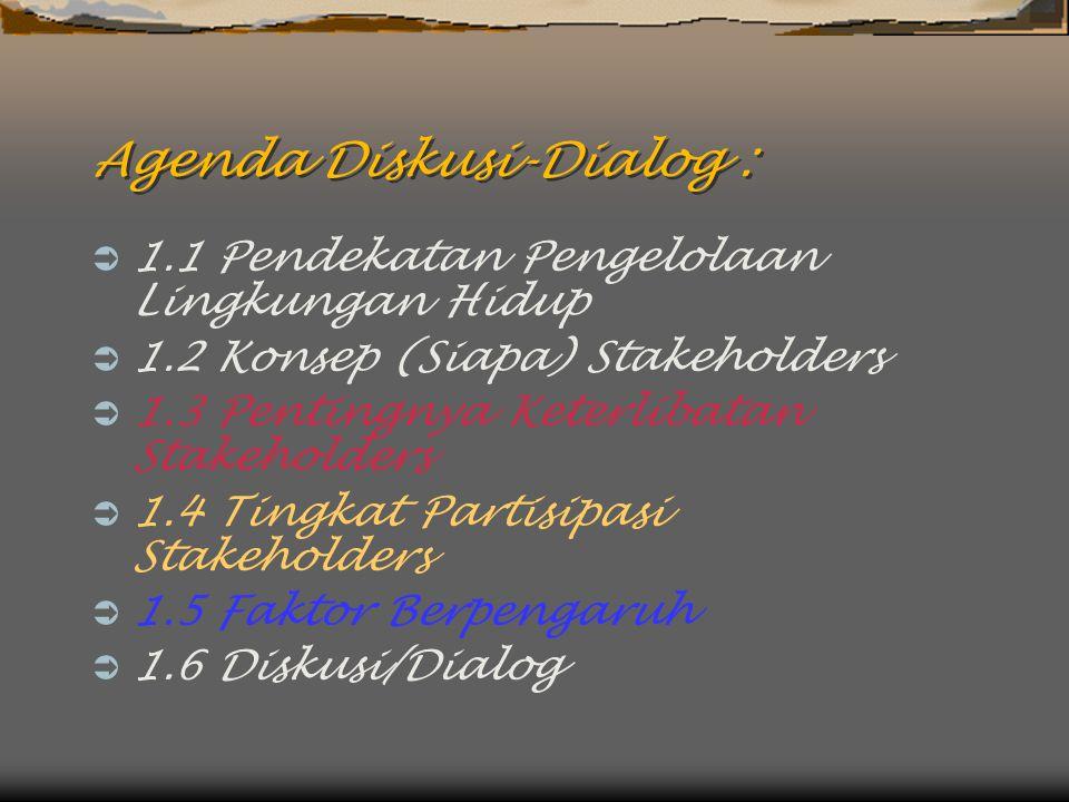 Agenda Diskusi-Dialog :  1.1 Pendekatan Pengelolaan Lingkungan Hidup  1.2 Konsep (Siapa) Stakeholders  1.3 Pentingnya Keterlibatan Stakeholders  1