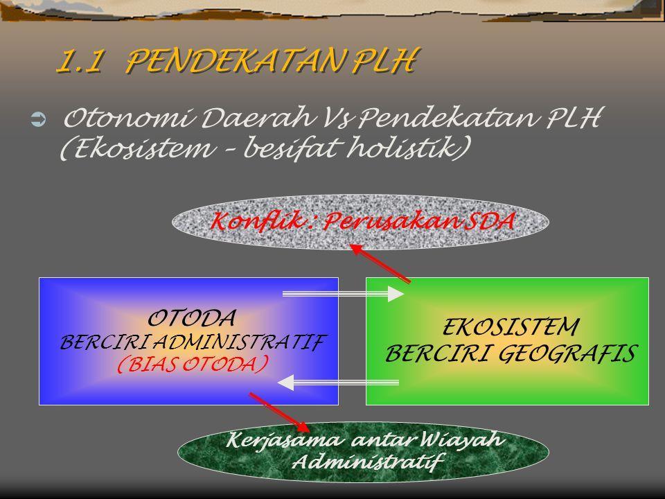 1.1 PENDEKATAN PLH  Otonomi Daerah Vs Pendekatan PLH (Ekosistem – besifat holistik) OTODA BERCIRI ADMINISTRATIF (BIAS OTODA) EKOSISTEM BERCIRI GEOGRA