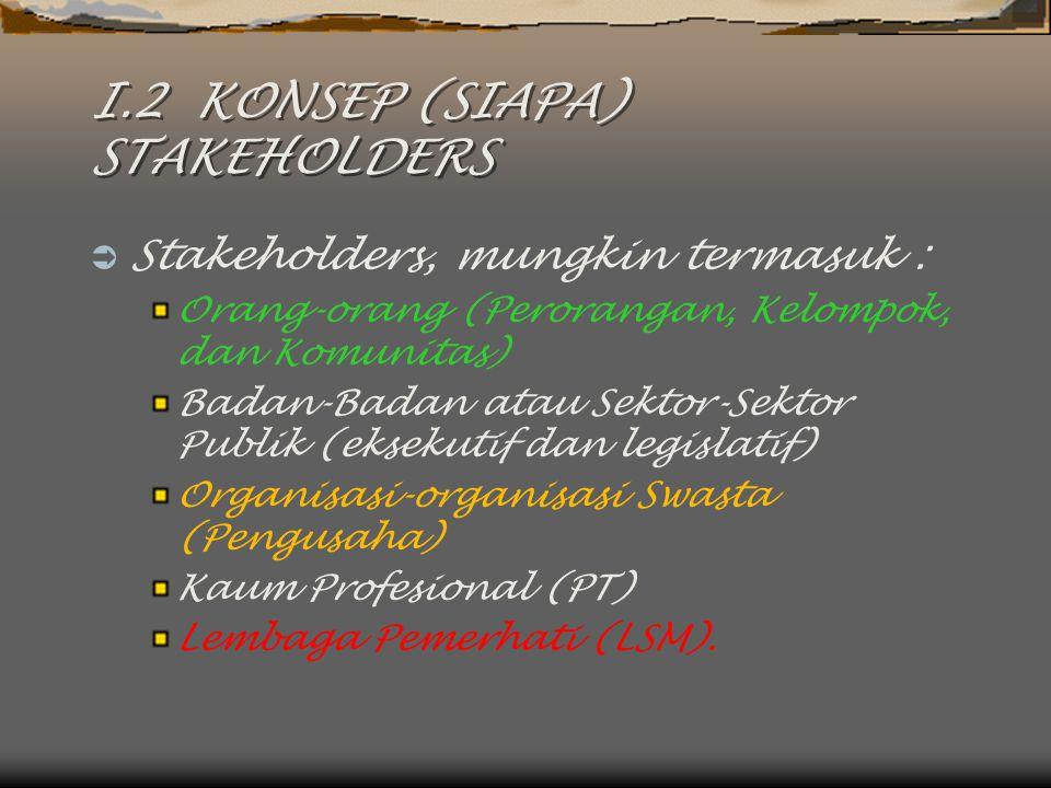 I.2 KONSEP (SIAPA) STAKEHOLDERS  Stakeholders, mungkin termasuk : Orang-orang (Perorangan, Kelompok, dan Komunitas) Badan-Badan atau Sektor-Sektor Pu