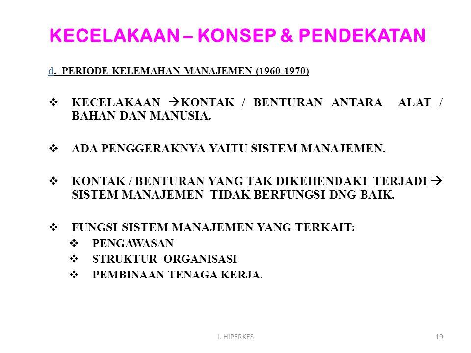 KECELAKAAN – KONSEP & PENDEKATAN d. PERIODE KELEMAHAN MANAJEMEN (1960-1970)  KECELAKAAN  KONTAK / BENTURAN ANTARA ALAT / BAHAN DAN MANUSIA.  ADA PE