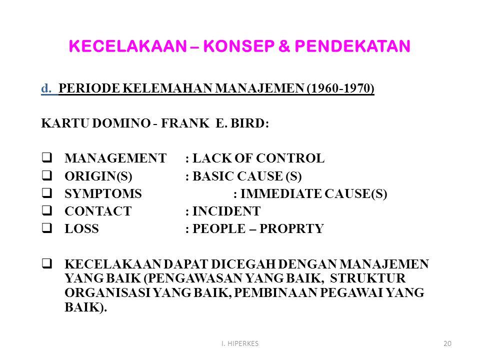 KECELAKAAN – KONSEP & PENDEKATAN d. PERIODE KELEMAHAN MANAJEMEN (1960-1970) KARTU DOMINO - FRANK E. BIRD:  MANAGEMENT: LACK OF CONTROL  ORIGIN(S): B