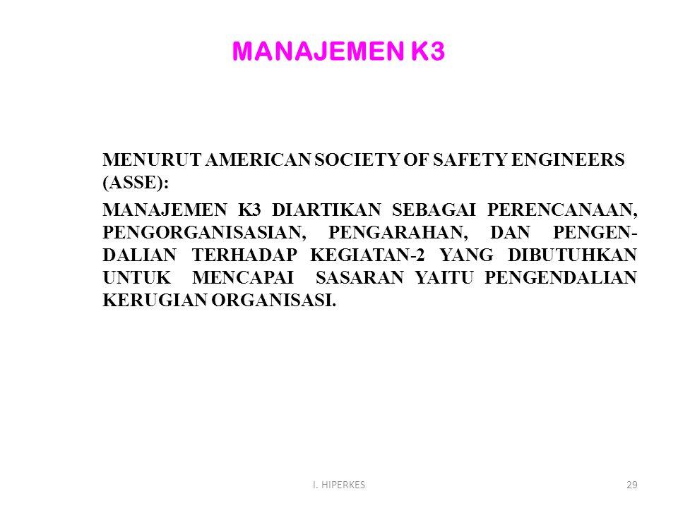 MANAJEMEN K3 MENURUT AMERICAN SOCIETY OF SAFETY ENGINEERS (ASSE): MANAJEMEN K3 DIARTIKAN SEBAGAI PERENCANAAN, PENGORGANISASIAN, PENGARAHAN, DAN PENGEN