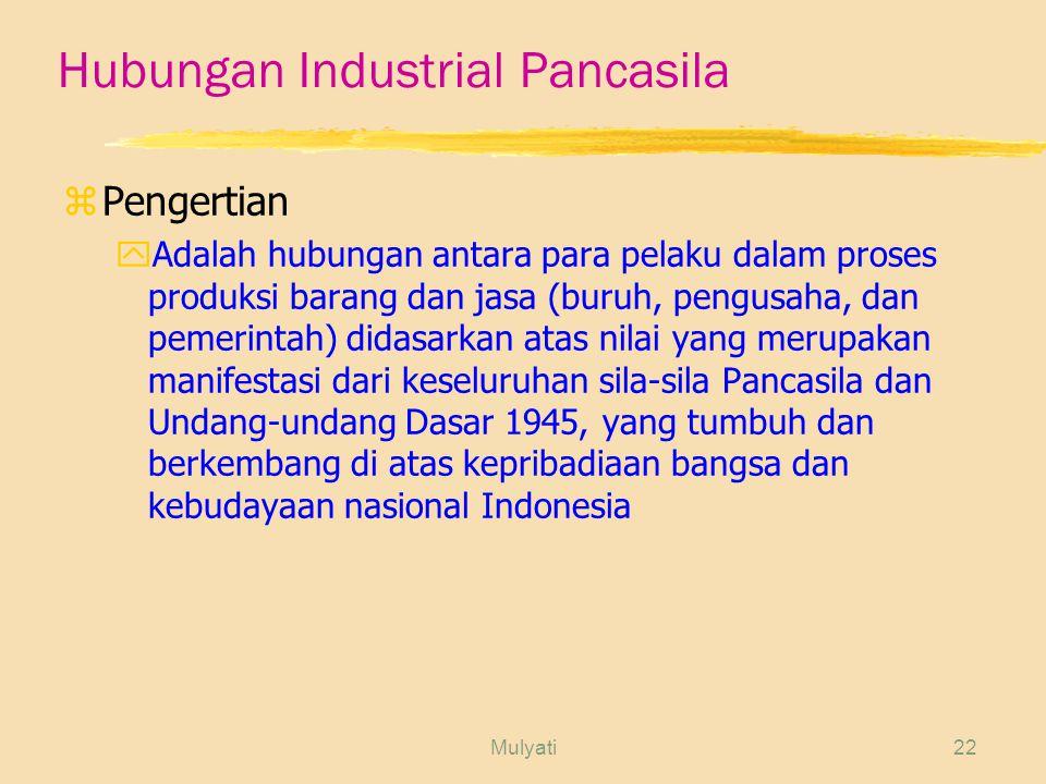 Mulyati22 Hubungan Industrial Pancasila zPengertian yAdalah hubungan antara para pelaku dalam proses produksi barang dan jasa (buruh, pengusaha, dan pemerintah) didasarkan atas nilai yang merupakan manifestasi dari keseluruhan sila-sila Pancasila dan Undang-undang Dasar 1945, yang tumbuh dan berkembang di atas kepribadiaan bangsa dan kebudayaan nasional Indonesia