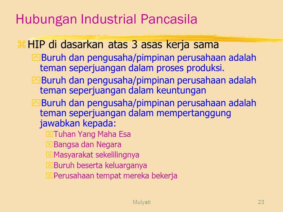 Mulyati23 Hubungan Industrial Pancasila zHIP di dasarkan atas 3 asas kerja sama yBuruh dan pengusaha/pimpinan perusahaan adalah teman seperjuangan dalam proses produksi.