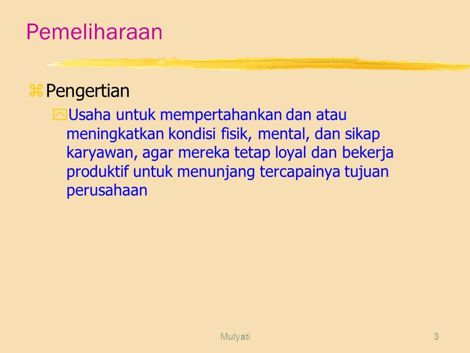 Mulyati14 Jenis Kesejahteraan Karyawan zFasilitas yTempat ibadah yKafetaria yOlahraga yKesenian yPendidikan/seminar yCuti yKoperasi dan toko yIzin