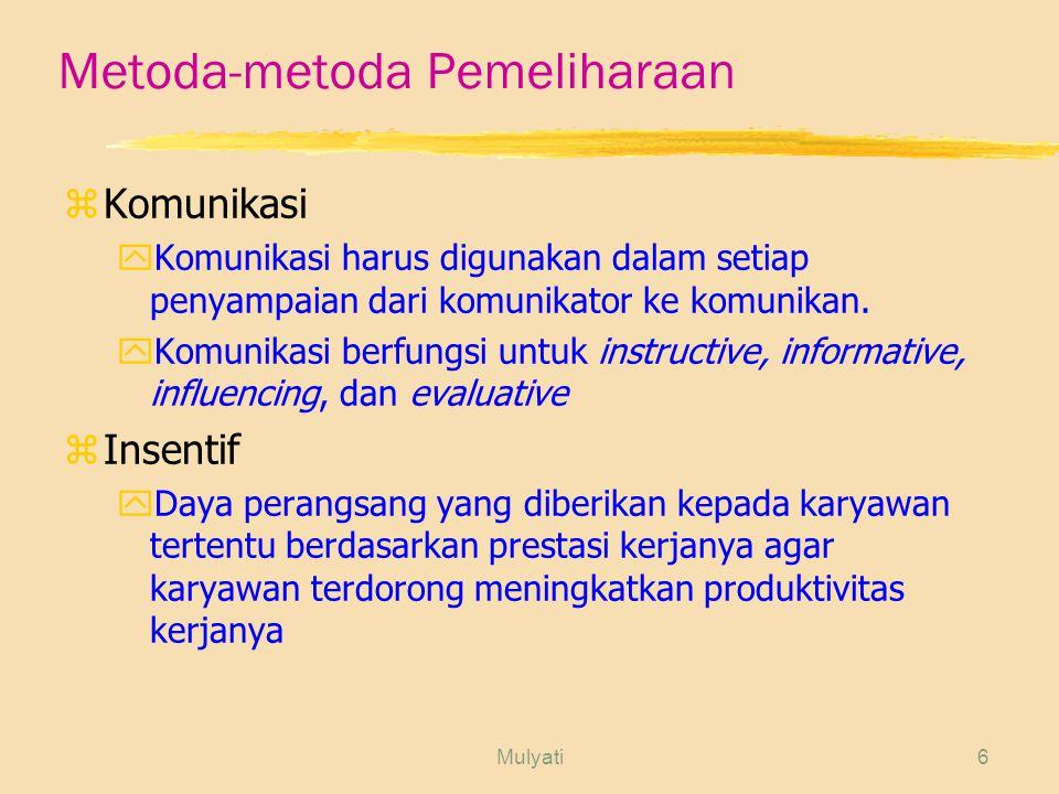 Mulyati6 Metoda-metoda Pemeliharaan zKomunikasi yKomunikasi harus digunakan dalam setiap penyampaian dari komunikator ke komunikan.